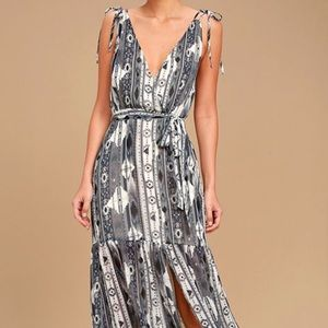 Lulu's Grey Aztec Print Maxi Dress, Size XS